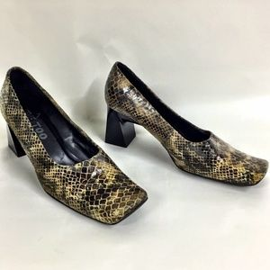 ME TOO Size 9 Leather Snakeskin Square Toe Heels